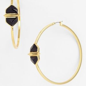 VINCE CAMUTO HIDDEN GEMS LARGE GOLD HOOP EARRINGS